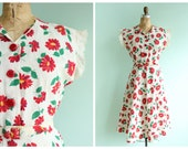 Vintage  1940's Red Floral Sun Dress | Size Small