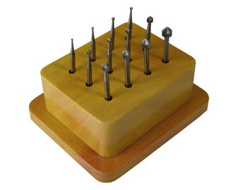12 Piece Setting Bur Set w/ Wooden Stand Stone Setting Filing Jewelry Making Tools - BUR-540.05