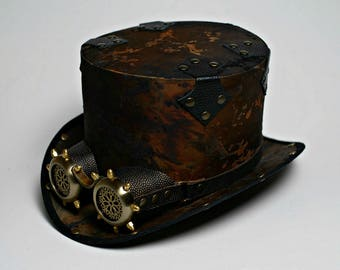 Steampunk Top Hat with Goggles Post Apocalyptic Hat with Goggles Mad Hatter Hat Mens Hats Womens Hats Steam Punk Top Hat Personalized Hat