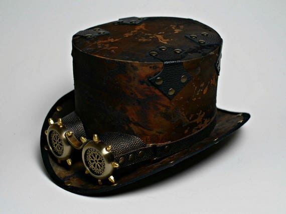 Favori Steampunk Top Hat with Goggles Post Apocalyptic Tophat Steam NY15