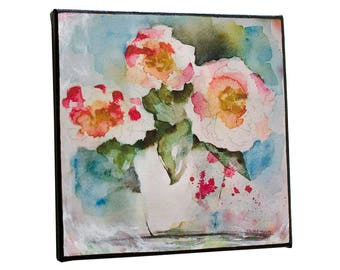 Small Rose Bouquet Flower Painting Square Wall Art Print on Canvas 8x8 Ready to Hang