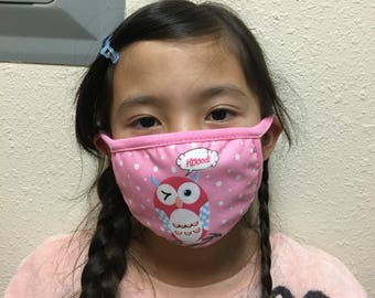 Owl mask, Washable mask / face mask/ Medical face mask/dust mask/surgical mask/half mask/handmade cotton mask/ mouth mask/pink owl/Christmas