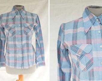 1970's Modissa Shirt - 70's Modissa Pointy Collar Shirt - Size S #1134