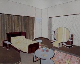 1929 Art Deco, Modernist Interior Design of a Chambre a Coucher, by E.Kohlmann. edite par le Studium Louvre. Vintage Color Lithograph