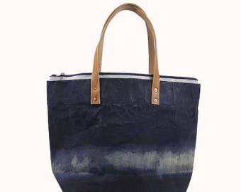 Large Waxed Cotton Canvas Tote Bag w/Liner - Navy - Leather Handles