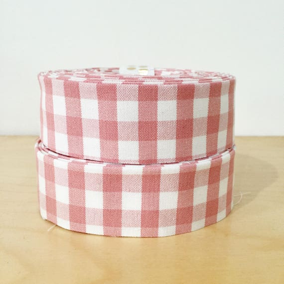 """Rose pink and white gingham check Quilt binding- 1.25"""" double-fold cotton- 6 yard roll"""