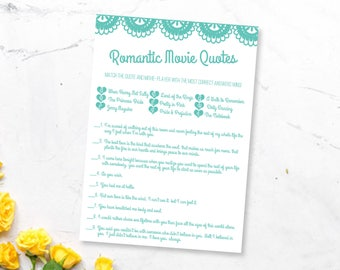 Lace Bridal Shower Game Printable- Romantic Movie Quotes- Wedding Shower Game- DIY Digital Download