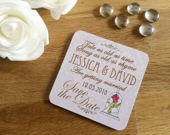 Disney Beauty and the Beast themed Save the Date Coasters