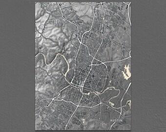 Austin Map Print, Black and White Art, Vintage Inspired, Texas