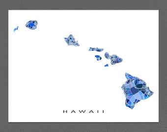 Hawaii Map Print, Hawaii Art, HI State, Hawaiian Islands, Maui, Kauai