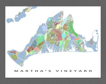 Martha's Vineyard Map Print, Martha's Vineyard Massachusetts USA, The Vineyard