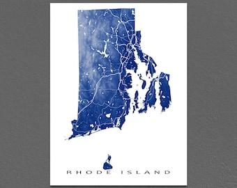 Rhode Island Map Print, Rhode Island State Art, RI, USA, Providence