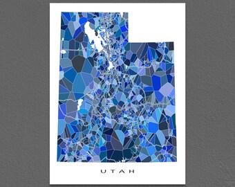 Utah Map Print, Utah State Art, UT Wall Artwork