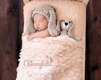 Newborn Bunny bonnet, newborn bunny hat, newborn bunny set, newborn Easter prop, newborn bunny teddy bear, grey bunny hat, photography prop