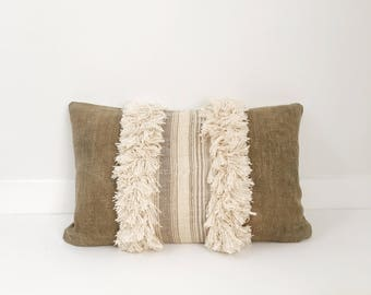 Pillow Cover, Ethnic, Handwoven, Mudcloth, Off White, Army Green/Brown, Fringe, Boho Pillow, Lumbar