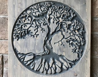Carved Wood Tree Of Life, Large Wall Hanging