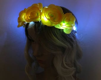 Ready to ship: Yellow LED Flower Crown, festival, rave