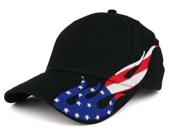US Flag Flame Pattern Brushed Cotton Twill Low Profile Baseball Cap (58-755)
