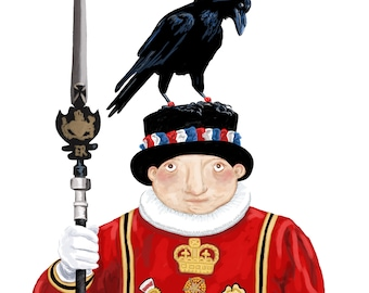 Beefeater with Raven Print