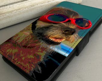 iPhone, Samsung Galaxy phone case -  Leather Wallet Flip Case Cover - Terrier dog in red goggles
