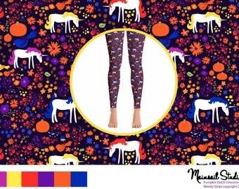Adult Halloween leggings  Unicorn leggings Pumpkin Leggings