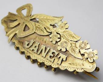 Antique Victorian Sterling Silver Gilt Floral Name Brooch - Janet