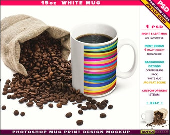 15oz White Coffee Mug | Photoshop Print Mockup M16-3 | Right & Left Mug | Steaming coffee | Sack Coffee beans | Smart object