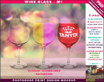 Wine Glass M-1 | Empty, White & Red Wine | Photoshop Print Mockup | Glasses on Outdoor Kitchen Table | Smart object Custom colors