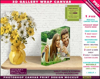 8x8 Gallery Wrap Canvas 1.5in Deep | Photoshop Print Mockup Photo Edge | Photo Canvas on Wooden Shelf Flowers | Smart object Custom colors