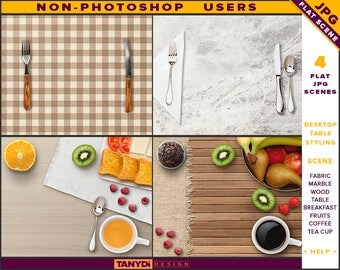 Desktop Table Styling | Styled JPG Scenes DT-1 | Non-Photoshop | Fabric Marble Wood Table | Breakfast Fruits Cutlery | Tea Coffee Cup
