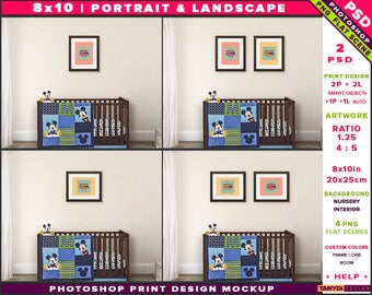 Nursery Interior Photoshop Print Mockup 810-N6 | Portrait & Landscape Set of 2 Wooden Frames | Dark Wood Crib | Smart object Custom colors