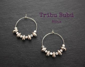 "Earrings ethnic ""tribal"" inspired silver rings"