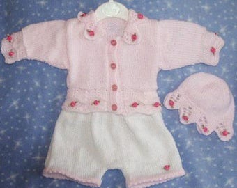Baby Knitting patterns ref01 Cardi and Cap with lacy knitted edges and matching Shorts size 0-3mths