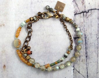 Multistrand labradorite bracelet with seed beads, Gray and orange jewelry for women, Best friend gift idea, One of a kind present for mom