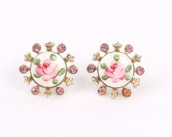 """1960's Pink Roses on White Guilloche w Pink Rhinestones and Open Work Gold Tone Frilly Edge Post Earrings, Excellent Cond., 11/16"""" Wide."""