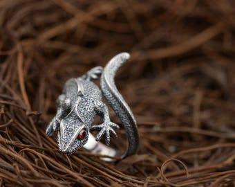 New Satanic Lizard Gecko Sterling Silver Ring Jewelry Animal Chameleon Iguana Exotic Reptile Red Eyes 3D Style Fashion Lover Biker Nice