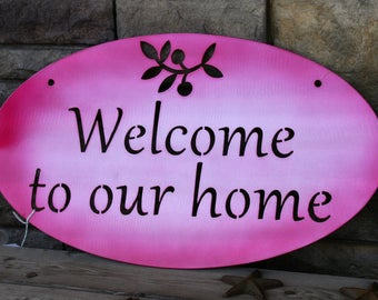 Modern Welcome to our Home sign, Red Polished Reflective Metal Art Sign, Welcome sign, Entryway Sign, Outdoor Welcome Sign, modern welcome