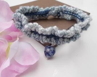 Crochet bracelet , blue bracelet , friendship bracelet , sodalite jewelry , crochet jewelry , gemstone jewelry , blue jewelry , sodalite
