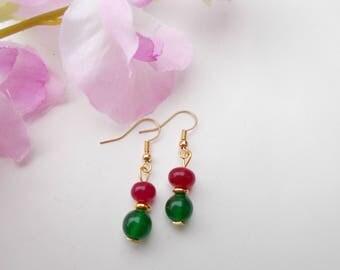 Quartz earrings , gold plated earrings , dangle earrings , gemstone earrings , christmas jewelry , gift for her , green & red earrings