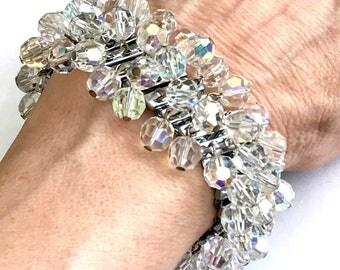 AB Crystal Expansion Bracelet, Cha Cha Stretch Bracelet, Vintage 1960s, Mid Century, Silver Tone, Vintage Jewelry, Mid Century