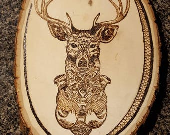 Wood Burning of mandala style deer