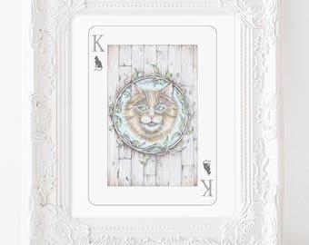 Cheshire Cat illustration, cheshite cat art, smiling cat, playing card art, alice in wonderland art, wonderland art, storybook illustration