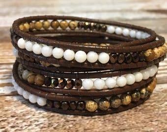 Chan Luu Bracelet / Crystal Jewelry / Brown Wrap Bracelet / Healing Crystal Bracelet / Chakra Bracelet