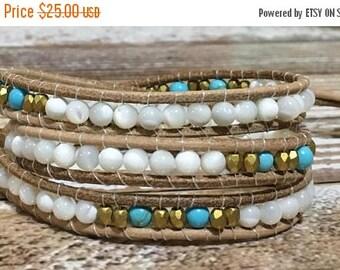 SALE Healing Crystal Bracelet / Turquoise Bracelet / Chakra Healing Bracelet / Triple Wrap Bracelet / Chan Luu Style Bracelet