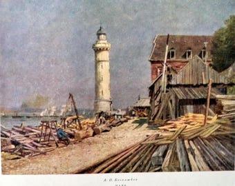 Vintage Russian Lighthouse Art print, Bogolyubov Lighthouse Print, Russian Realism, 60s Art print, Seascape, Lighthouse, Beach Decor Art