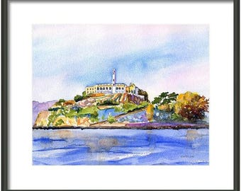 California, San Francisco, Alcatraz, ORIGINAL Watercolor painting, 8x10, The Rock, Alcatraz Prison, Bay Area, Landscape, Nautical, wall art
