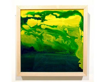 Yellow & Green Abstract Painting