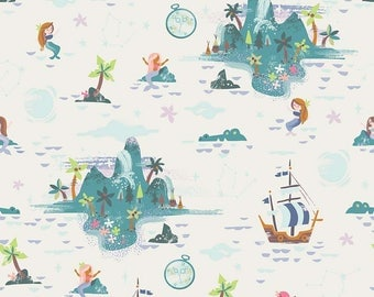 1 Yard Neverland by JIll Howarth for Riley Blake Designs- 6572 Cream Neverland Island