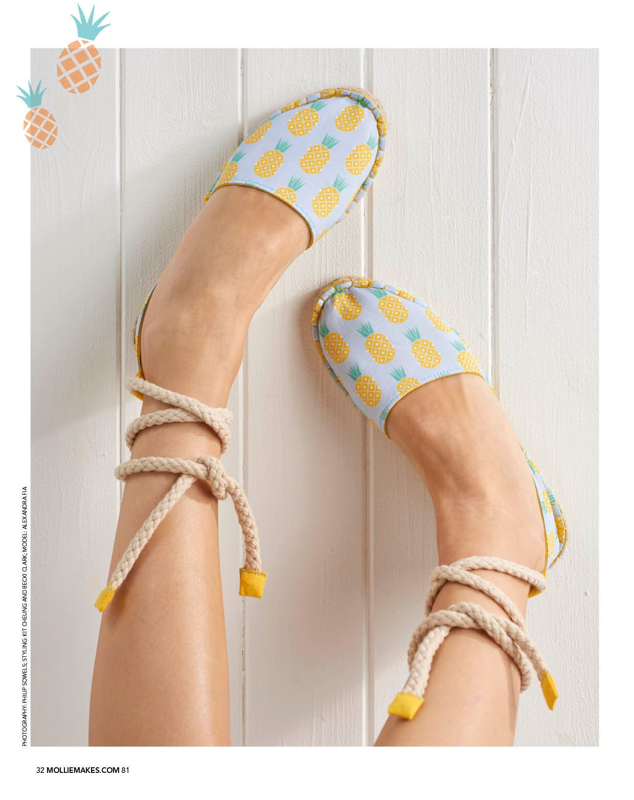 Suzie London Strappy Pineapple Espadrilles as seen in issue 81 of Mollie Makes magazine