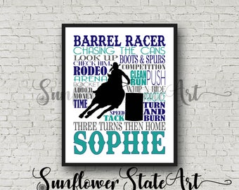 Personalized Barrel Racing Poster, Barrel Racer Typography, Barrel Racing Print, Gift for Barrel Racer,  Barrel Racer Poster, Pole Bending
